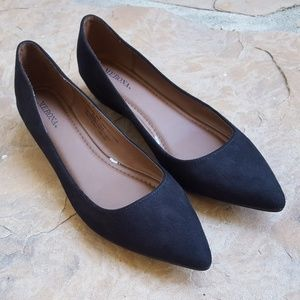 Black suede look pointed flats